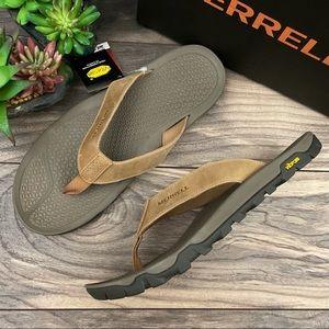 NIB Merrell Breakwater Leather Flip Flops Sandals